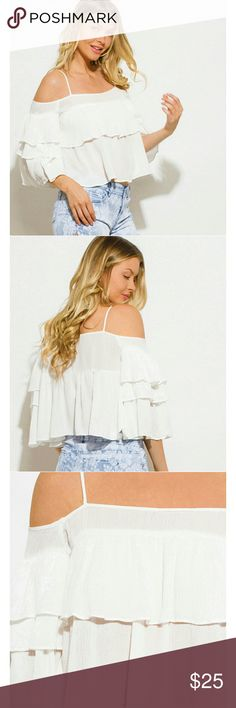 Off shoulder crop top Gorgeous cream of shoulder crop top. Great for summer or spring! As is in picture shown above Tops Blouses