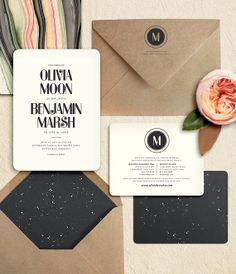 Modern Starry Night Wedding Invitation by oakandorchid on Etsy, $15.00