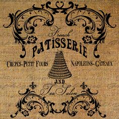 French Patisserie And Tea Salon Ornate Frame Pastry Bakery Cake Digital Image Download Transfer To Pillows Tote Tea Towels Burlap No. 2751 on Etsy, $1.00