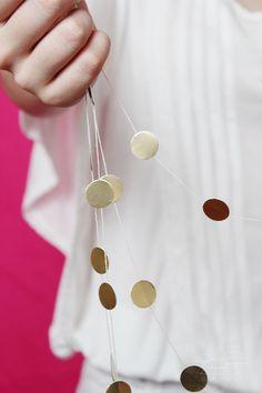 c680d46bdf596 DIY  Gold polka-dot stickers mini garland. Gold Dots