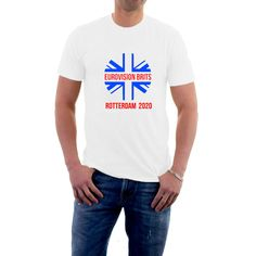 So why not treat yourselves to one of these great shirts to wear on the night ? A white t-shirt with a stylised Union Jack Roundel. All colours are for guidance purposes only. Union Jack, Rotterdam, New T, Mens Tees, Long Sleeve Shirts, T Shirt, Songs, Hoodies, Cotton