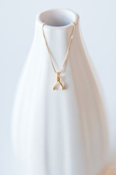 Gold Mini Wishbone Necklace