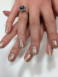 More gold swirls for a colleague who was looking for something subtle! Two coats of Nails Inc Bourne St with swirls stamped using MoYou Mother Nature 01 and OPI You're So Vain-illa