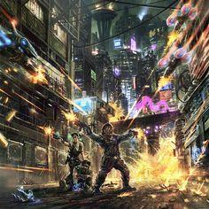 Shadowrun Sprawl Ops by Benjamin Giletti Shadowrun Game, Cyberpunk 2020, Leia Star Wars, Ghost In The Shell, Weird Creatures, Dope Art, Character Modeling, Illustrations, Sci Fi Art
