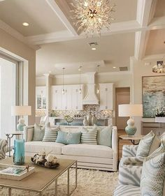 article gives you the facts on modern farmhouse living room turquoise that only Coastal Living Rooms, Elegant Living Room, Living Room Grey, Small Living Rooms, Home Living Room, Living Room Designs, Living Room Decor, Modern Living, Barn Living