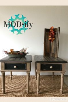 Midnight and Burlap are the perfect color match from Rethunk Junk furniture paint. Modify did a stunning job on these tables using the Rethunk Junk products. #rethunkjunk #breakthechalkhabit #nowaxever #modify