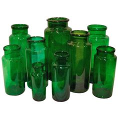 A Selection of Green Glass Apothecary Jars - 1stdibs.com