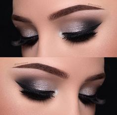 Eye Makeup Silver Smokey Eyeshadow Tutorials Ideas For 2019 Denitslava Makeup, Eye Makeup Glitter, Makeup Eye Looks, Simple Eye Makeup, Makeup Inspo, Bridal Makeup, Wedding Makeup, Makeup Ideas, Bridal Nails