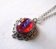 Dragons Breath Necklace Fire Opal by TwigsAndLace
