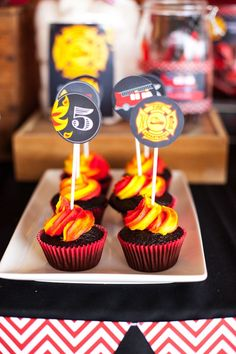 Fire Cupcakes from a Fireman Birthday Party via Kara's Party Ideas | KarasPartyIdeas.com (3)