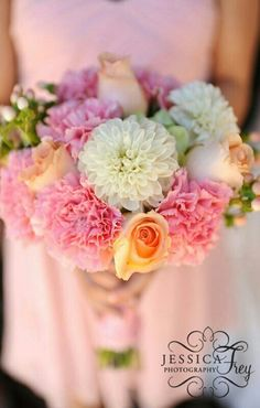 Pink Carnations, White Dahlias, White Hypericum Berries, Peach Hypericum Berries, Peach Roses, Green Florals & Greenery