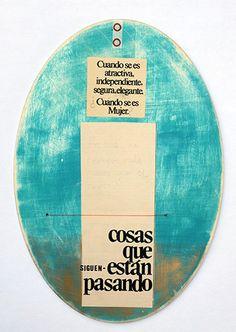 """© COLMADO MAZA Collage sobre madera (34 x 23,5 cm). Título: """"Cosas que siguen-están pasando"""""""