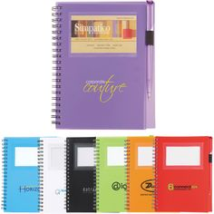 "Spiral notebook with ID/card slot and matching ballpoint pen. Front cover has clear window for card placement. Twist-action ballpoint pen with elastic pen loop. Includes 70 ruled pages.Window area holds cards or photos: 2-1/4"" H x 3-1/2"" W."