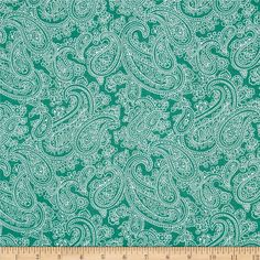 Palm Court Large Paisley Teal from @fabricdotcom  Designed by Michele D'Amore for Benartex, this cotton print fabric is perfect for quilting, apparel and home decor accents. Colors include teal green and white.