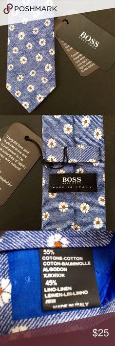 Hugo Boss tie with retro flower pattern Brand new, never worn / 55% cotton, 45% linen / all over retro flower pattern Hugo Boss Accessories Ties