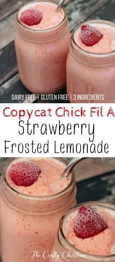 We love ice cream after a nice hot day, but we can't have dairy. So I made this copycat Chick Fil A dairy free strawberry frosted lemonade, and it's amazing! via @craft_christian (Favorite Desserts Dairy Free)