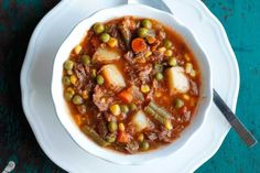 My Mom's Old Fashioned Vegetable Beef Soup is one of my all-time favorite comfort food recipes. It's a homemade vegetable beef soup that's quick and easy!