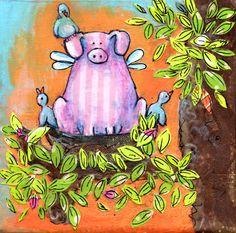 Mixed media pig painting