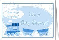 Baby Shower Invite- Blue Train, Baby Boy Card by Greeting Card Universe. $3.00. 5 x 7 inch premium quality folded paper greeting card. Baby Shower invitations to celebrate any upcoming event are available at Greeting Card Universe. Send a custom invitation to your friends and family. Allow Greeting Card Universe to handle all your Baby Shower invitation needs this year. This paper card includes the following themes: baby shower, trains, and train. Boy invitatio...