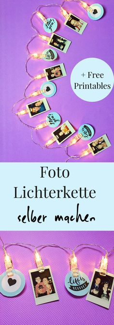 Foto DIY Lichterkette ganz einfach selber machen. Schöne Ideen für selber gemachte Dekoration: Lichterkette mit Bildern als Deko selber basteln. Macht sich auch super als Ideen für Party Deko. #lichterkette #diyideen