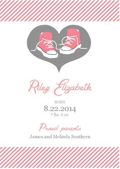 Printable Baby Girl Announcements (Digital File) by PerfectedbyGrace on Etsy