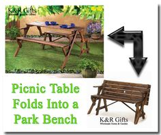 Garden Furniture: Convertible Picnic Table Into A Park Bench Rustic Fir Wood New