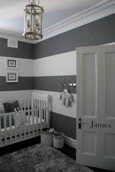 Bold gray stripes #BoyNursery #CarouselDesigns