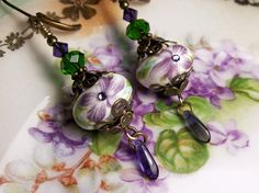 Purple African Violet Green Crystal Earrings by TitanicTemptations, $37.00