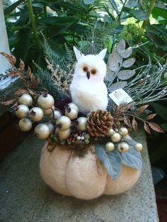 RAZ White SNOW OWL Arrangement on Cream Wool Felted Pumpkin Upcycled Sweaters Fall Pumpkin Christmas Winter. $32.99, via Etsy.
