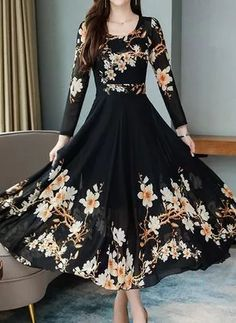 Women's Floral Print Fashion Patchwork Celebrity&Elegant Zipper High Waist Slim Long Sleeve Crew Neck Maxi A Line Dress dresses Stylish Dresses For Girls, Stylish Dress Designs, Modest Dresses, Elegant Dresses, Pretty Dresses, Casual Dresses, Fashion Dresses, Dresses With Sleeves, Floral Dresses