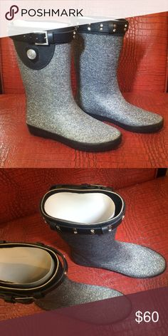 CORKY'S 'Wind' Rain Boots Corky's Footwear 'Wind' women's rain boot is super cute in black and silver.  All man made materials. NIB Corky's Shoes Winter & Rain Boots