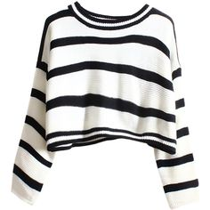 Blackfive Striped Cropped Loose Knit Jumper (210 DKK) ❤ liked on Polyvore featuring tops, sweaters, shirts, crop tops, stripes, knit sweater, cropped sweater, striped shirt, long white shirt and loose knit sweater