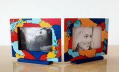 Porta Retrato em MDF, multicolorido, by Renata Sousa, para Ikera Presentes.