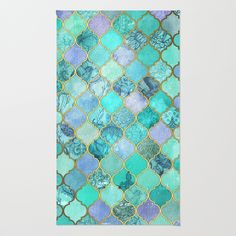 Cool Jade & Icy Mint Decorative Moroccan Tile Pattern Area & Throw Rug