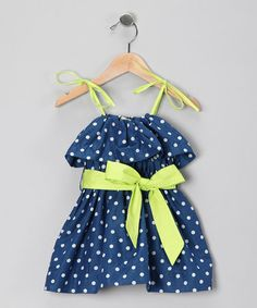 Take a look at this Blue & Lime Jaqueline Dress - Infant, Toddler & Girls by Sophie Catalou on #zulily today!