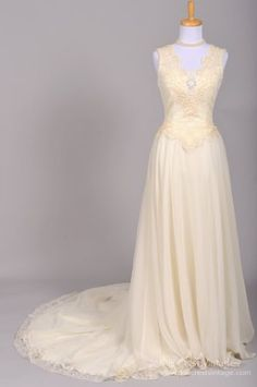 1960's Alfred Angelo Lace Embroidered Chiffon Vintage Wedding Go