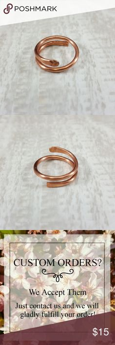 """Love Swirl"" Copper Ring w Heart or Initial Stamp This is our ""Love Swirl"" ring  COPPE: Copper jewelry helps body absorb it through skin contact. Helps bones, nervous system, joints, circulatory system, arthritis. Copper is a grounding metal for body and spirit. Spiritually, it is healing & protective.  • Handmade Copper Ring with Heart stamp or initial • Available in any size. • Also available in Sterling Silver or Gold Color Wire. • Comes in a jewlery gift box with Copper…"