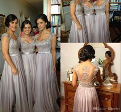 Wholesale Braidsmaid Dresses - Buy 2014 Silver Bridesmaid Dresses Off Shoulder Appliques Pleats Chiffon A-Line Floor Length Pageant Prom Party Dress, $122.97+free shipping| DHgate