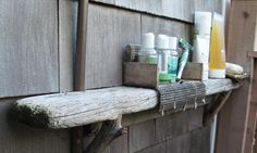 wood from a dock used in an outdoor shower.....by charlie baker....