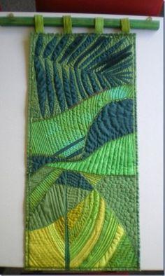 Rainforest Exhibition quilt by Rhiannon Jones. Small Quilts, Mini Quilts, Fiber Art Quilts, Landscape Art Quilts, Tree Quilt, Textiles, Dmc, Quilted Wall Hangings, Applique Wall Hanging