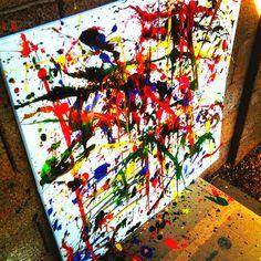 Splatter paint art. Splatter Art, Diy Artwork, Canvas Art, Artsy, Crafts, Painting, Christmas Ideas, Color, Craft