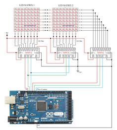 Funny Electronics: Circuit to Control LED Matrix Using Arduino Mega and 74595 (Part 1 of Led Arduino, Arduino Circuit, Arduino Sensors, Arduino Radio, Hobby Electronics, Electronics Components, Electronics Projects, Cool Electronics, Arduino Projects