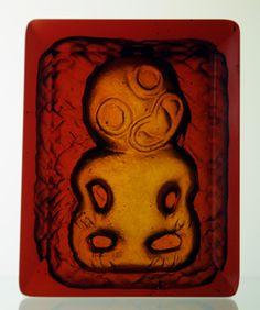 Raewyn Roberts Kura Gallery Maori Art Design New Zealand Cast Glass Art Tiki Paperweight Red Orange