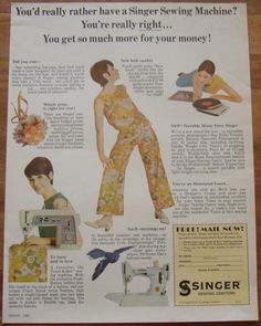 """VERY RARE 1965 CANADA SINGER SEWING MACHINE AD FEATHERWEIGHT """" WHITE COLOR """" 