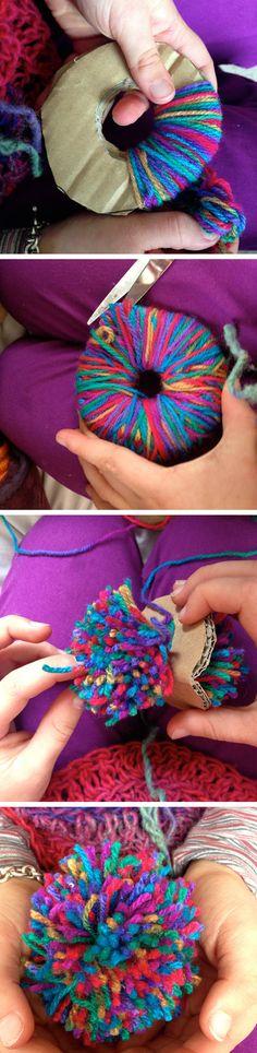 Making Rainbow coloured pom poms – Saffron Craig Organic Fabrics