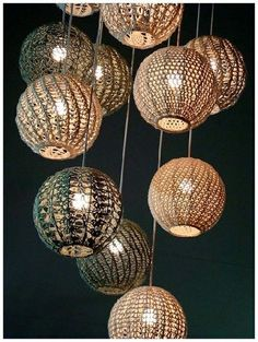 Inspiration: Pendant lamp shades (no pattern, just an idea) #crochet #lamp shade