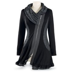 Black Shawl Cowl Tunic - New Age, Spiritual Gifts, Yoga, Wicca, Gothic, Reiki, Celtic, Crystal, Tarot at Pyramid Collection