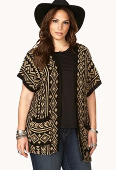 Eclectic Tribal Pattern Cardigan | FOREVER21 PLUS - 2000110057