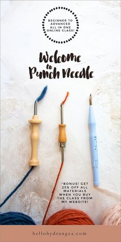 Needle Class — Hello Hydrangea Punch needle tutorials – learn how to punch needle with this online video class! Punch Needle Class — Hello Hydrangea Punch needle tutorials – learn how to punch needle with this online video class! Punch Needle Set, Punch Needle Patterns, Do It Yourself Fashion, Punch Art, Punch Punch, Hook Punch, Embroidery For Beginners, Needle And Thread, Embroidery Stitches