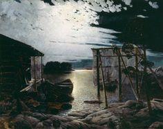 Aukust Uotila (1858-1886) Kalastuspaikka kuutamolla / Fishing hut 1883 - Finland